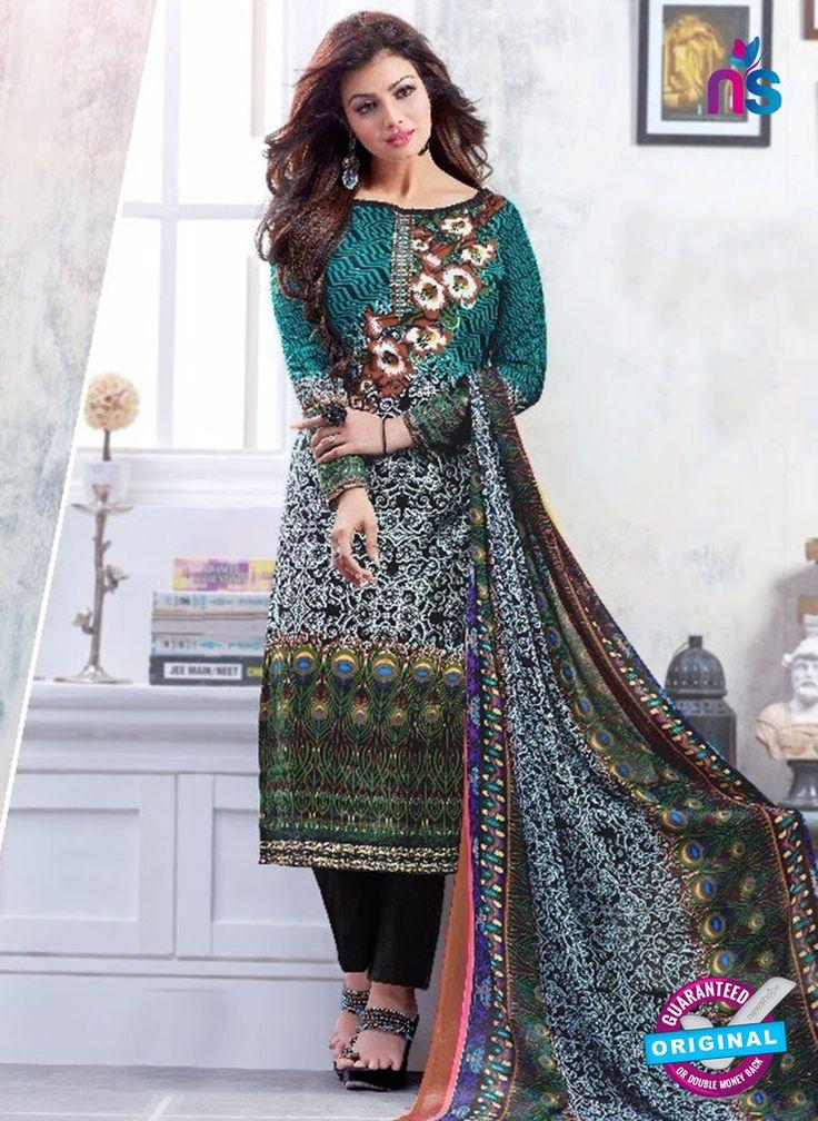 SC 13223 Black and Multicolor Silk Crape Straight Suit
