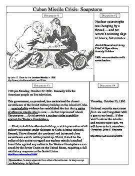 The Cuban Missile Crisis Soupstone Primary Source Analysis Worksheet