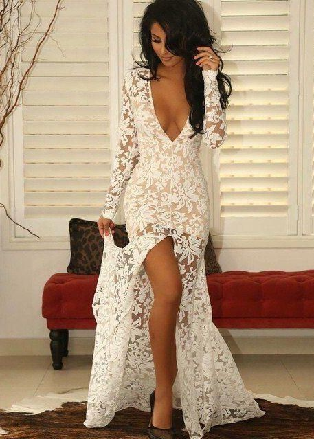 Modern Lace Deep V-neck Mermaid Prom Dress 2016 Front Split Long Sleeve_High Quality Wedding & Evening Prom Dresses at Factory Price-27DRESS.COM