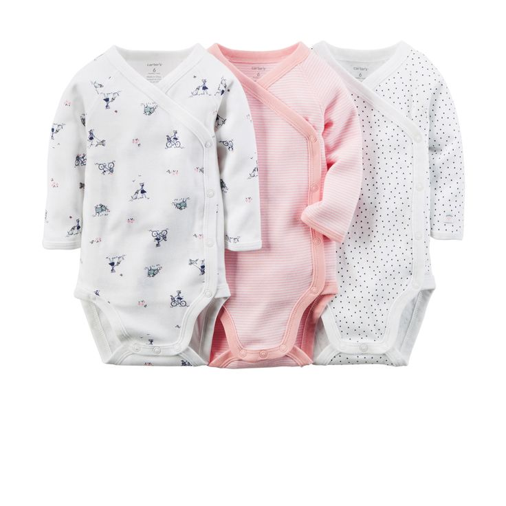 Side snap body suits for newborns with umbilical cord.