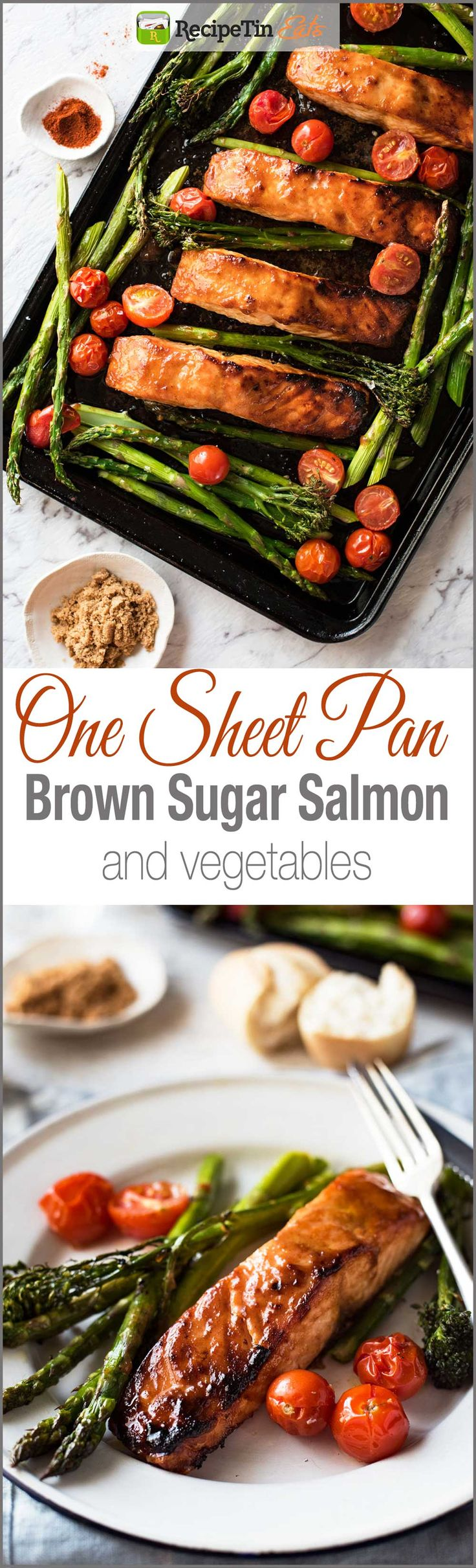 One Sheet Pan Brown Sugar Salmon & Vegetables - The glaze taste incredible and this whole dinner is ready in 15 minutes flat!