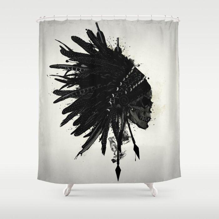#indian #skull #war #warrior #bonnet #warbonnet #feather #spiritual #arrows #spatter #ink #native #american #curtains #homedecor #shower