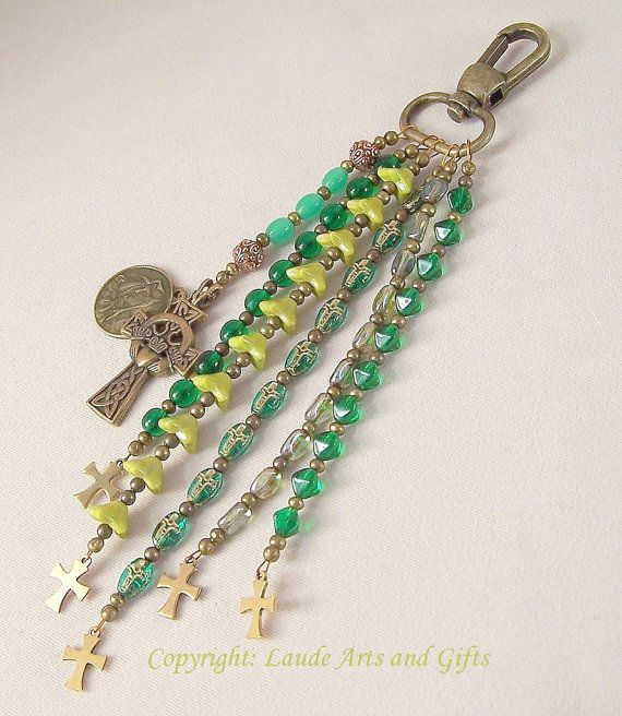 Claddagh Celtic Purse Fob Rosary by LaudeArtsandGifts on Etsy