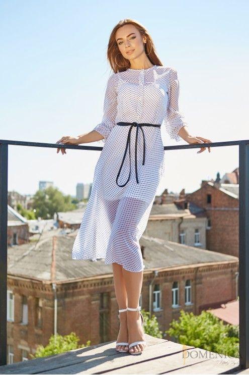 f6e44cb3bde Платье-миди с длинным рукавом в мелкий горошек  купить оптом в Украине