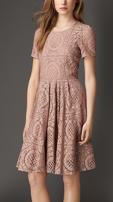 Nude English Lace A-Line Dress