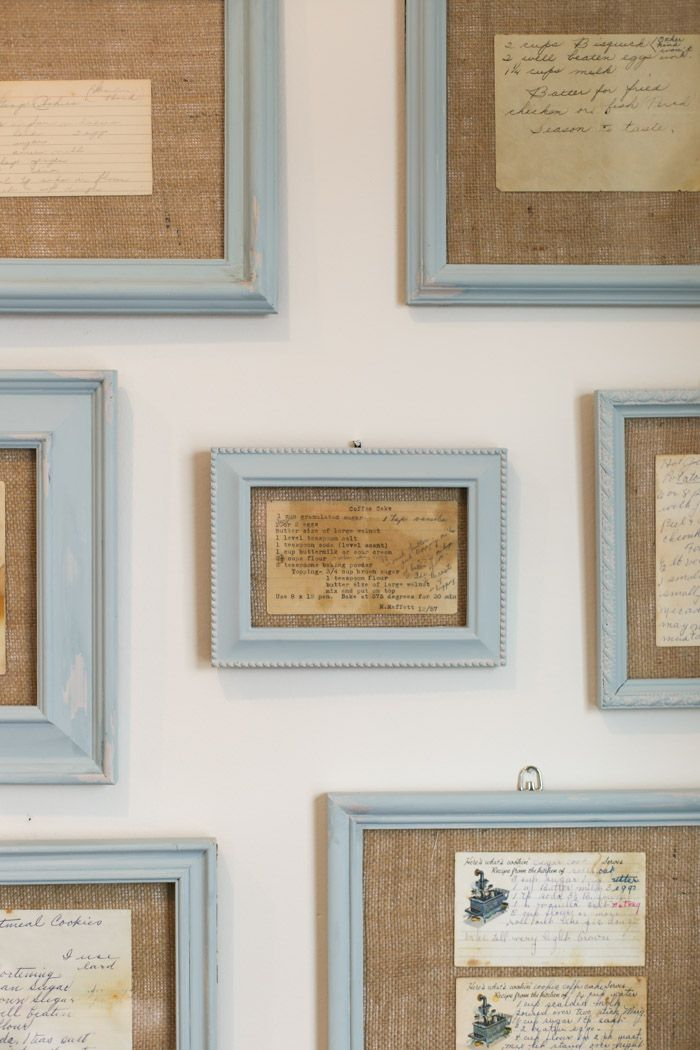 kitchen wall art using framed recipes | kitchen ideas and speciality