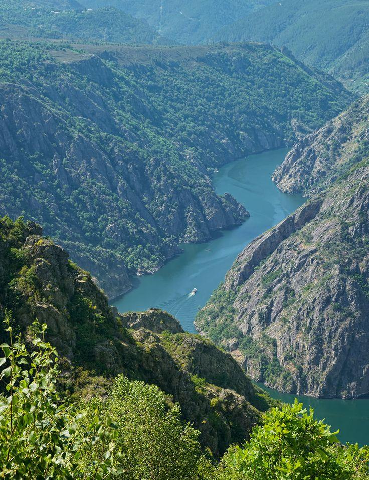 los Cañones del Sil, una garganta con desniveles de 500 metros que este río excava cerca de su unión con el Miño, en la Ribeira Sacra.