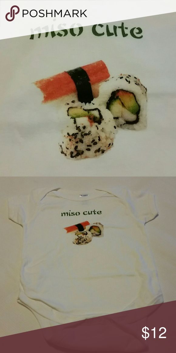 """Miso Cute Infant Bodysuit 100% white cotton bodysuit with whimsical sushi picture and """"miso cute"""" on front.  Short sleeved, lap shoulder style neckline, and crotch snap closure. Machine washable.  Tumble dry low. One Pieces Bodysuits"""