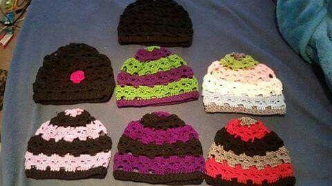 Crochet skull hats.