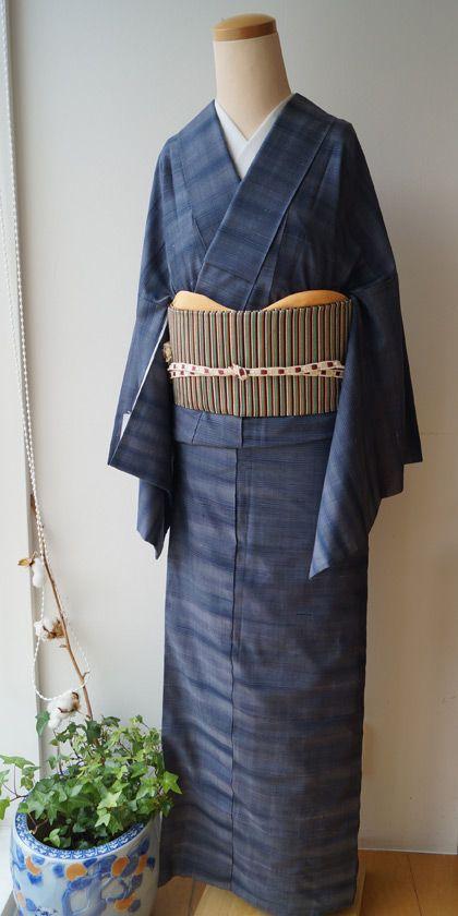 【袷】藍色系縞細縞紬と縞柄つづれ名古屋帯 #kimono #着物 | ちぇらうなぼるた雑記帳