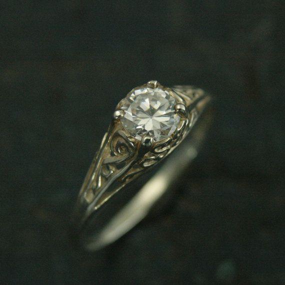 L'anneau de Cendrillon--Style Vintage argent filigrane bague de fiançailles--topaze blanche, saphir blanc, ou anneau zircone cubique - anneau de Style Antique
