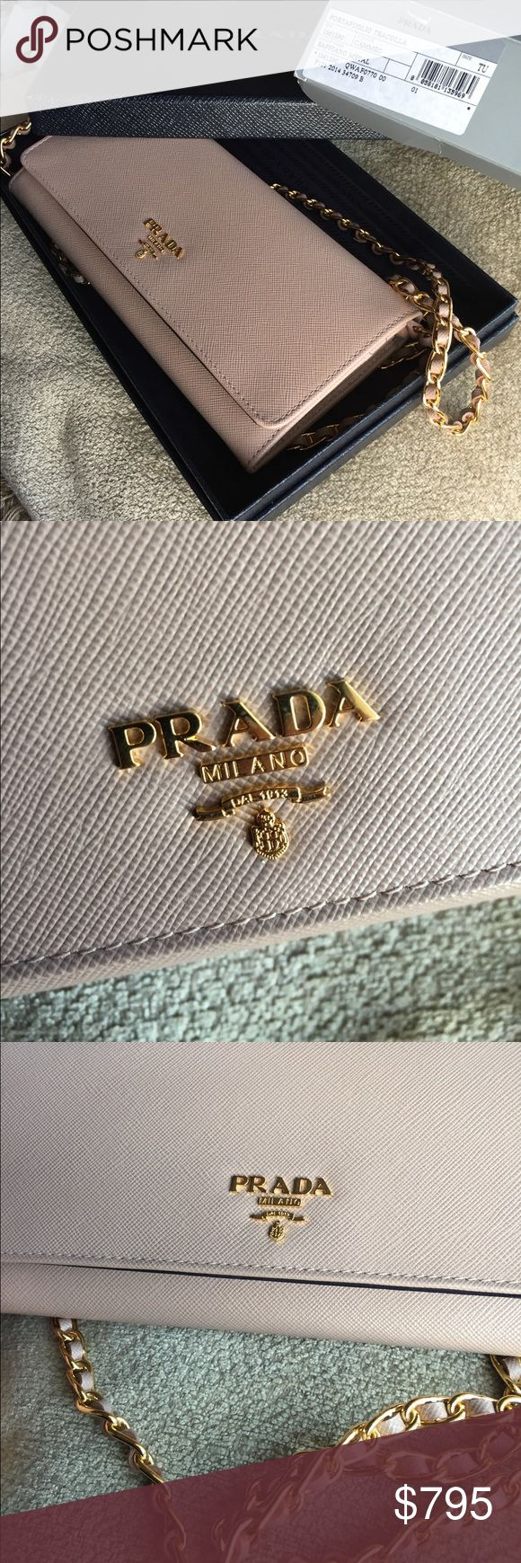 Prada Cammeo crossbody WOC Gorgeous Prada WOC in cammeo. Love love love this so much! 😍😭. Only selling if I get a high price for it. Wore it a few times but still in new condition. I kept all the interior packaging and stored it like that. Prada Bags Wallets