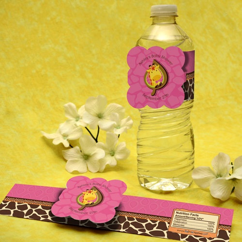 Giraffe Girl   Personalized Baby Shower Water Bottle Labels