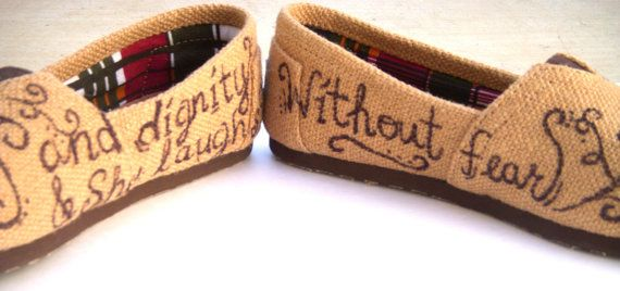 The Proverbs 31 Burlap TOMS Shoes with Bible by FruitfulFeet
