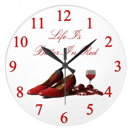 Red High Heel Shoes and Red Wine Round Clock