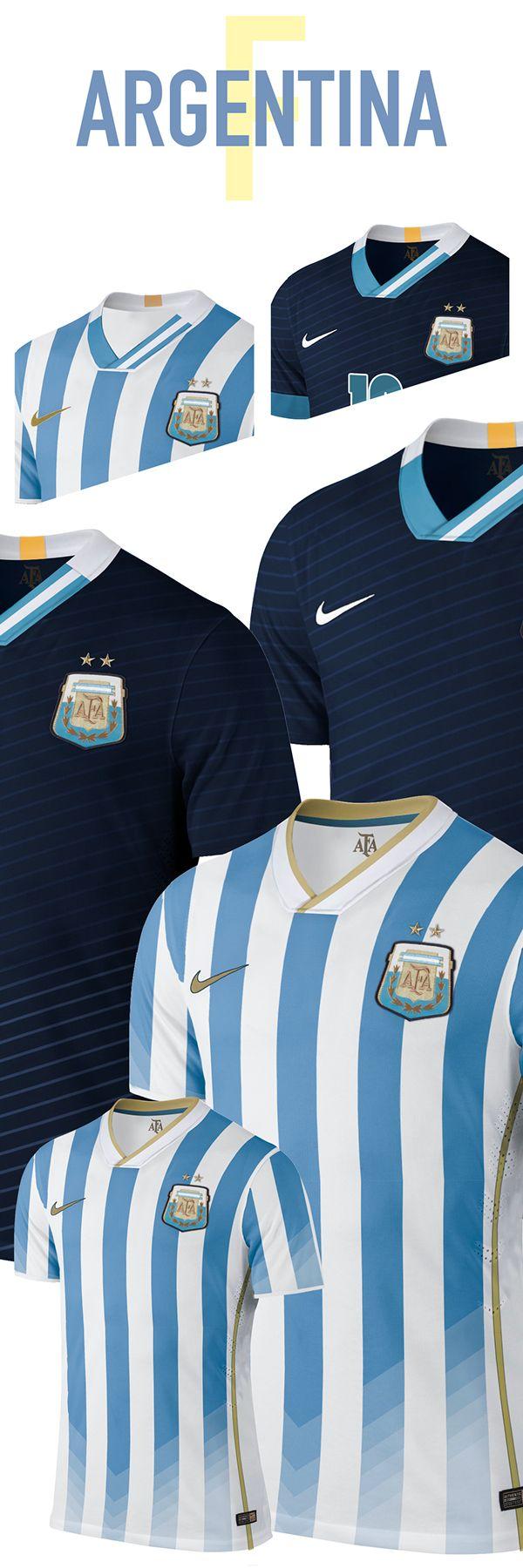 Estos son los uniformes de Argentina para la Copa Mundial. Los aficionados de Argentina quieren éstos. A mí me gusta los uniformes tambien.