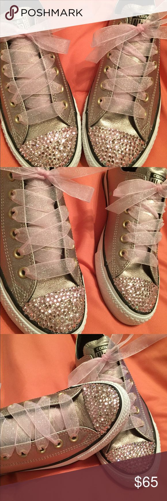 Converse Sneakers Leather Gold Converse, Really cute blinged out sneakers you are going to love these with your ragged out boyfriend jeans... Converse Shoes Sneakers
