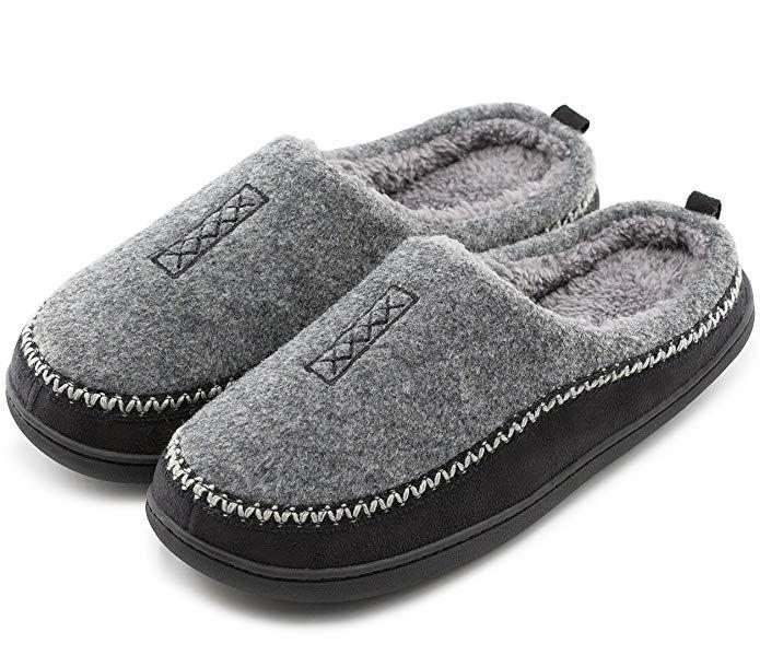 c977d789f70e Men s Cozy Fuzzy Wool Fleece Memory Foam Slippers Slip On Clog House Shoes  Indoor Outdoor Review