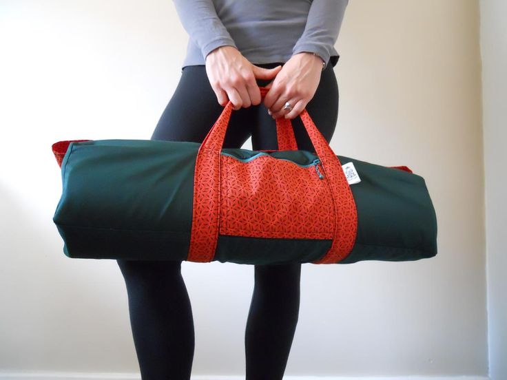 Shweshwe green and orange yoga bag