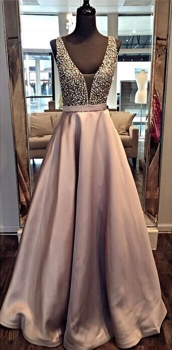 2016 A-line Deep V-neck Prom Dresses Floor Length Crystal Evening Gowns