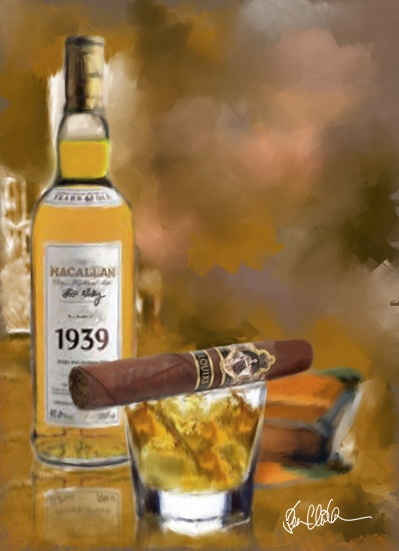 Macallan & Louis X part of the cigar art series. Scotch and a premium cigar are a great pairing.