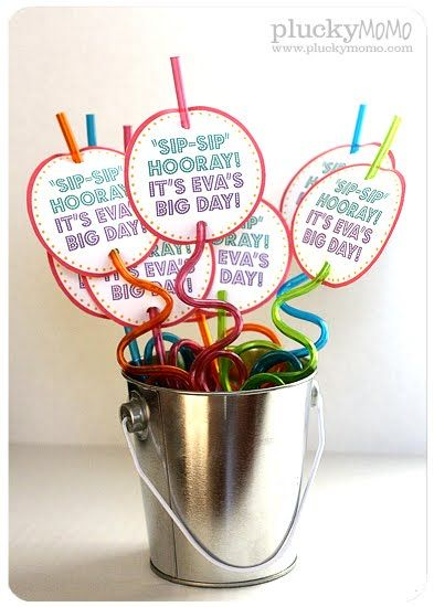 """Sip-Sip Hooray! It's my big day!"" Free Printable for Silly Straw Birthday Favors - There is also a Valentine's Day option!"