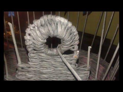 pletení na drátech cibulový koš - YouTube
