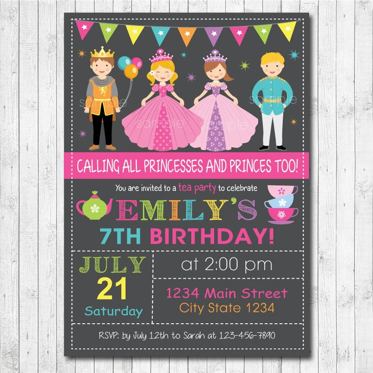 bday party invitation mail%0A Princesses and Princes Birthday Party Invitation Card  Tea Party  Digital  Printable File by funkymushrooms