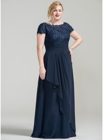 A-Line/Princess Off-the-Shoulder Floor-Length Chiffon Lace Mother of the Bride Dress With Cascading Ruffles (008077026)
