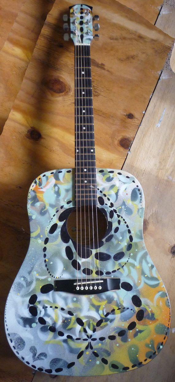 Custom Spray Painted Acoustic Guitar