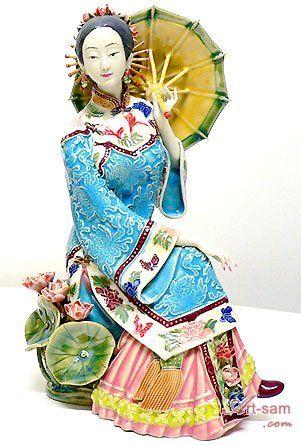 Oriental Chinese Lady - Ceramic Lady Figurine : Art-sam.com