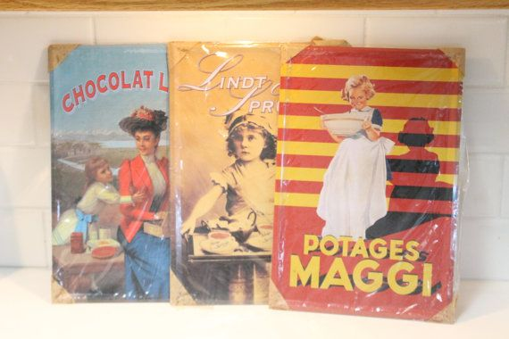 Set of 3 Lindt and Maggi Tin Signs Tin Signs by ClockworkRummage