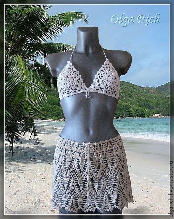 """Buy """"Egypt"""" - beach skirt /beige and chocolate/ - beige, skirt crochet, summer skirt"""
