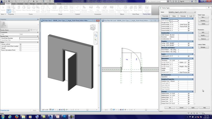This tutorial goes over how to make one door family do it all. A Hollow Metal Frame Profile is created so that it can adapt to be flush with a wall thickness...