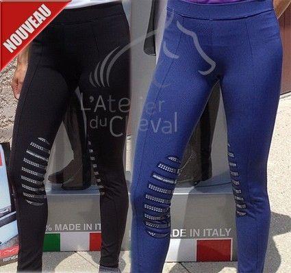 Pantalon Équitation Femme NOBIT Legging Animo Eté Noir ou Bleu Animo