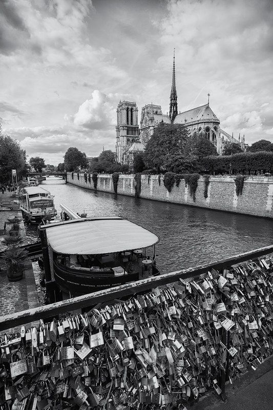 Love Locks, Paris, Bridge, Notre Dame Cathedral, Black and White, Romantic, Seine River, France - Travel Photography, Print, Wall Art