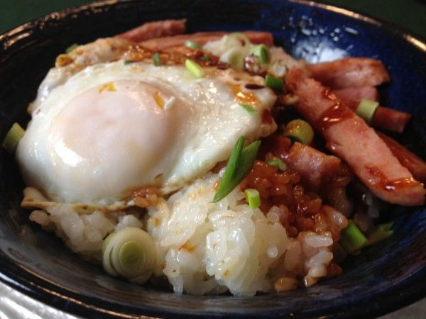 Coconut rice with Spam, Loco Moco Breakfast for Dinner