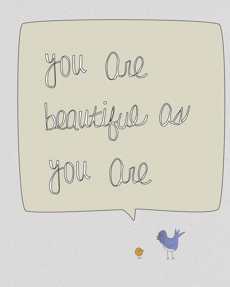 Digital Print-Nursery Art-8x10 Illustration-Beautiful As You Are-Birds, Inspirational, Motivational, Love, Nursery, Baby Decor, Decor. $18.00, via Etsy.