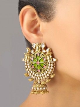 Meenakari Jhumki Earrings in green and pink.