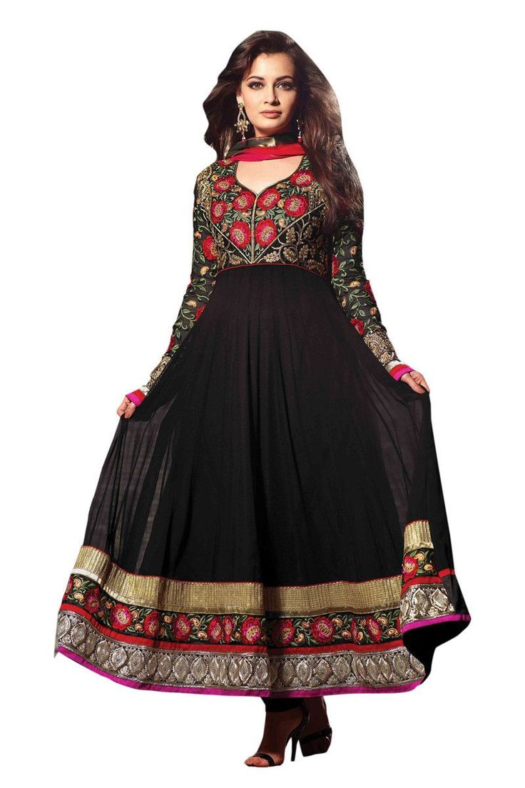 Dia Mirza Black Embroidered Anarkali Semi Stitched Suit