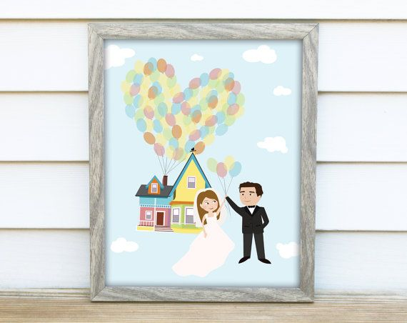 Personalized Disney Wedding Gifts: Custom UP-inspired Caricatures