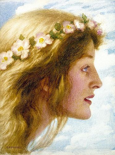 ⊰ Posing with Posies ⊱ paintings & illustrations of women & children with flowers - Day - Edward Robert Hughes