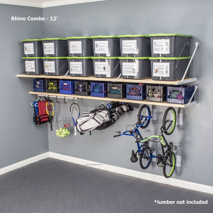 The 12' Rhino Combo is ideal garage storage for large items and small items. Conquer the clutter.