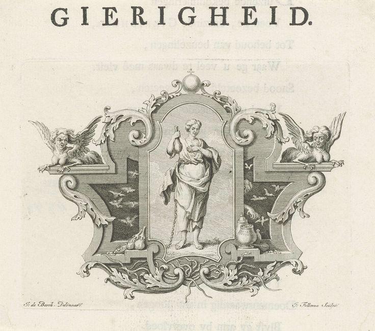 Jacob Folkema | Vignet met de personificatie van Gierigheid, Jacob Folkema, 1723 - 1767 | Vignet met de beeltenis van de gepersonifieerde Gierigheid in een cartouche, omringd door duivelse figuren, slangen en geld. Ze houdt een geldzak in haar hand en draagt een ketting om haar middel. De prent maakt deel uit van een reeks boekillustraties over deugden en ondeugden.