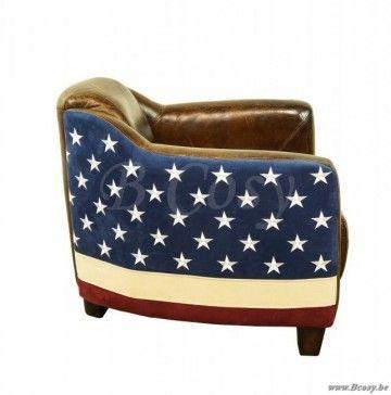 XX-PR Interiors Vintage Zetel Antiek Leder Met Usa-Vlag