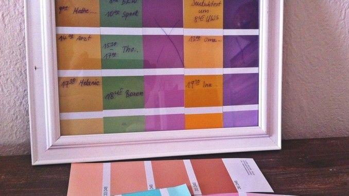 Mit dem Folienstift kann man danach seinen Wochenplan auf die Bilderrahmenglasscheibe aufschreiben und wieder nach Bedarf löschen.