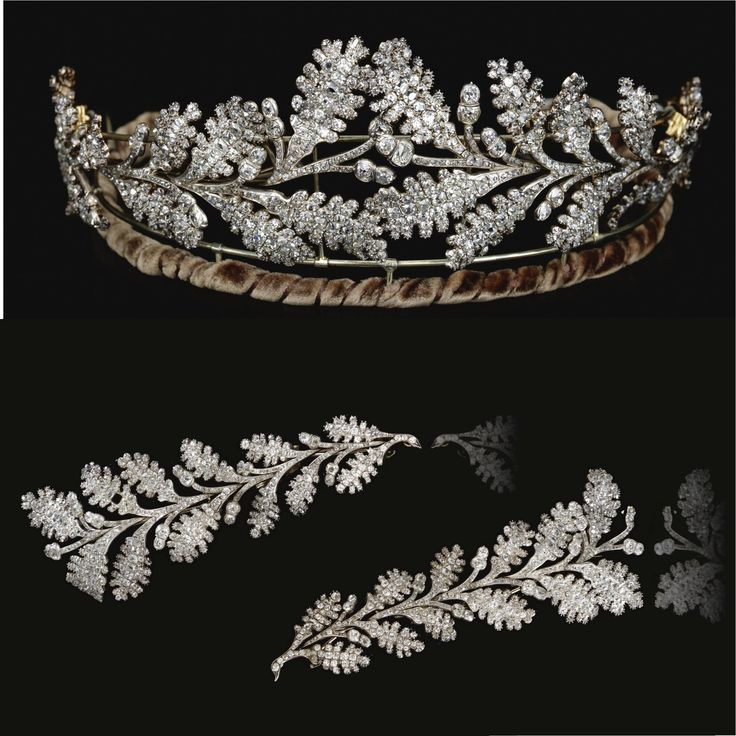 FROM THE COLLECTION OF THE HON. DAISY FELLOWES Diamond tiara, early 19th century. Designed as two confronting sprays of oak leaves tapering from the centre, set throughout with old mine diamonds, accompanied by fitted case stamped Carrington & Co. Jewellers, 130 Regent St., London .W; may also be worn as four brooches.