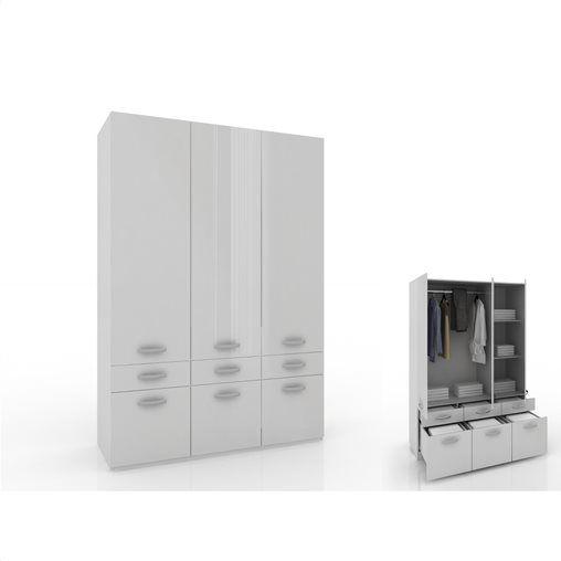 Ντουλάπα Briliant ανοιγόμενη Π140xΥ206xΒ60 cm από μοριοσανίδα σε χρώμα λευκό