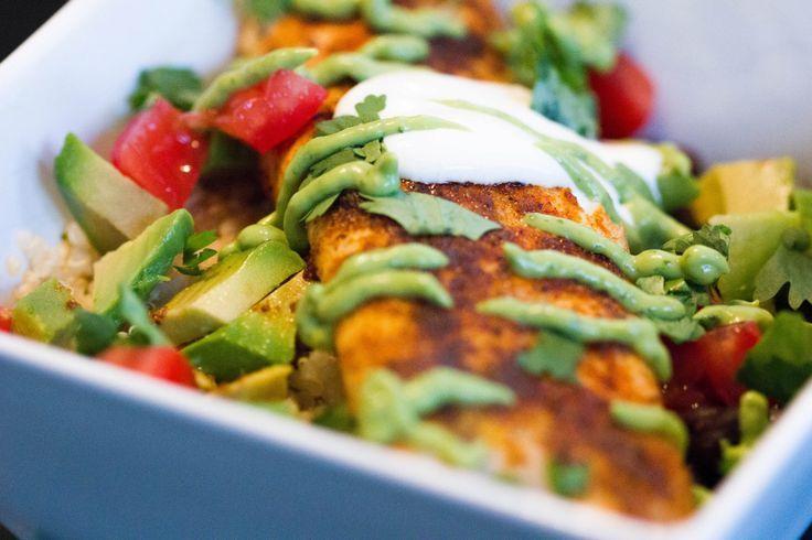 Tilapia Burrito Bowl with Healthy Avocado Crema: Gluten Free