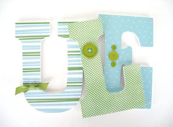 Baby Nursery Wall Letters  Green and Light Blue Aqua  Custom